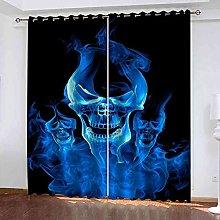 EEXDMX Blue skull Blackout Curtains - Super Soft