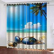 EEXDMX Blue sky beach sea view Blackout Curtains -