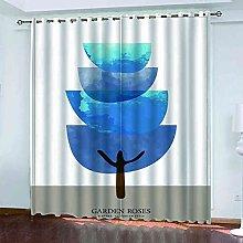 EEXDMX Cartoon blue trees Blackout Curtains -