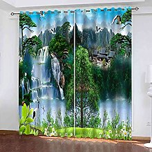 EEXDMX Chinese style landscape Blackout Curtains -