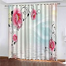 EEXDMX Creative pink flowers Blackout Curtains -