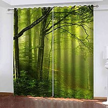 EEXDMX Early morning green woods Blackout Curtains