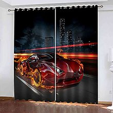 EEXDMX Flame red sports car Blackout Curtains -