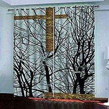 EEXDMX Golden black tree print Blackout Curtains -