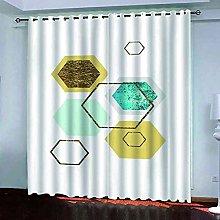 EEXDMX Golden geometric hexagon Blackout Curtains