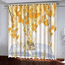 EEXDMX Golden Maple Leaf Elk Blackout Curtains -