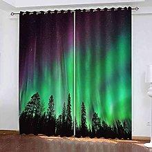 EEXDMX Green aurora landscape Blackout Curtains -