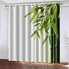 EEXDMX Green bamboo leaves Blackout Curtains -