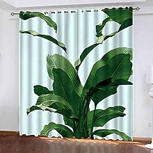 EEXDMX Green plant printing Blackout Curtains -