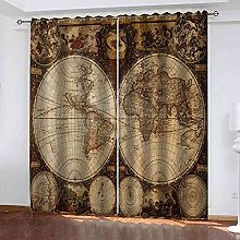 EEXDMX World map printing Blackout Curtains -