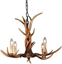 EFFORTINC Vintage Chandelier Deer Horn Resin 4