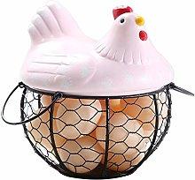 Egg Basket Holder Chicken Shape Ceramics Metal Egg