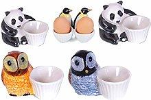 Egg Cup Family Ensemble Ceramic Set Animals Animal