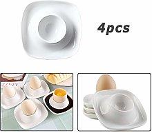 Egg Cup Holder, 4pcs White Porcelain Egg Stand