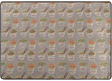 Egg Cup Noodle Ramen Printed Area Rugs Ultra Soft