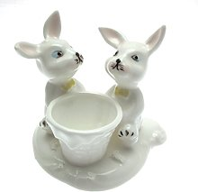 Egg Cup Rabbit Design White Porcelain Small Sized
