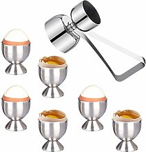 Egg Cup Set of 6, Stainless Steel Egg Cup Holder &