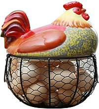 Egg Holder Chicken Shape Ceramics Metal Egg Basket