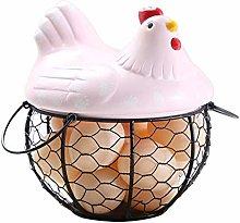 Egg Storage Basket, Chicken Shape Ceramics Metal