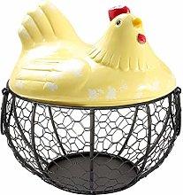 Eggs Basket,Chicken Shape Ceramics Metal Egg