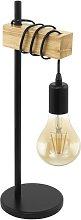 Eglo Townshend Hung Table Lamp - Black and Oak