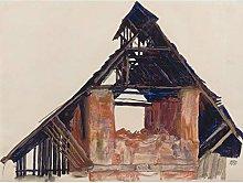 Egon Schiele Old Gable Large Wall Art Print Canvas