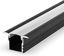 EH1 Black Painted 1m recessed LED Aluminium