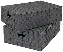 EHC Set of 2 Underbed Storage Box Chest Basket