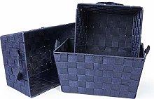 EHC Set of 3 Woven Strap Storage Hamper Basket