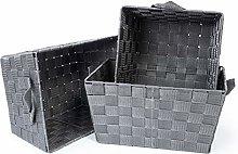 EHC Set of 3 Woven Strap Storage Hamper Shelf