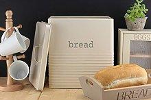 Ehc Square Bread Bin Canister Storage, Cream