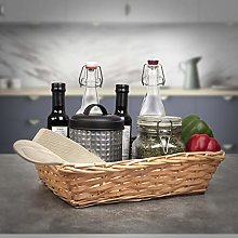 EHC Woodluv 1 X Wicker Wood Natural Gift Basket
