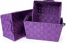 EHC Woodluv Set of 3 Woven Strap Storage Hamper