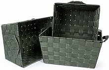 EHC Woodluv Set of 3 Woven Strap Storage Hamper
