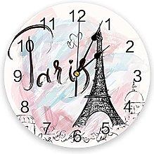 Eiffel Iron Tie Pink 3D Wall Clock Modern Design