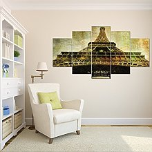Eiffel Tower Five Frame Painting Five Fight Oil
