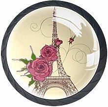 Eiffel Tower Rose 4 Pieces Crystal Glass Wardrobe