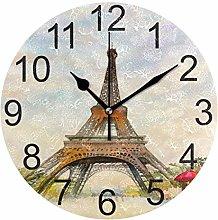 Eiffel Tower Valentine Day Wall Clock Paris