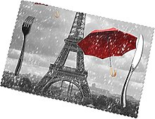 Eiffel Tower with Red Umbrella Printing Placemats