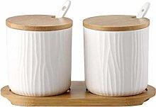 Eillybird White Ceramic Jar, Condiment Pots Spice