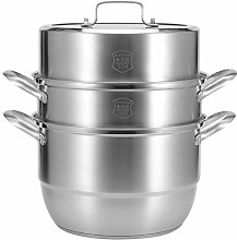 Ejoyous 3 Tier Steamer Pot With Glass Lid, Food