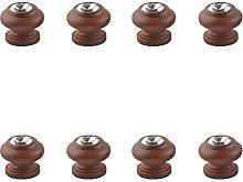 EKEK 8pcs Brown Series Lotus Round Handle,Cupboard