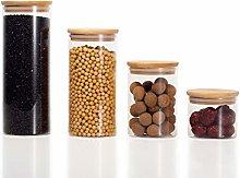 Ekirlin Glass Jar with Bamboo Lid Set of