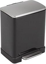 EKO E-Cube Pedal Bin, Metal, Matt Black, 12 Litre