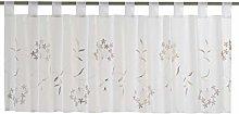 Elbersdrucke Bistro Curtain, White/Brown, 48 x 140