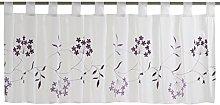 Elbersdrucke Bistro Curtain, White/Purple, 48 x