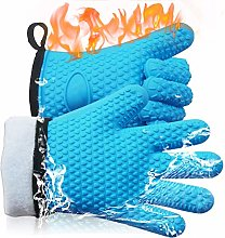 ELCM Oven Gloves,Silicone Heat Resistant BBQ