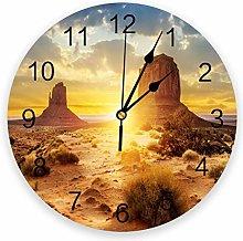 Eld Diameter 25cm Desert Scenery Wall Clock For