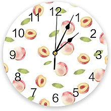 Eld Diameter 25cm Fruit Peach Simple Wall Clock