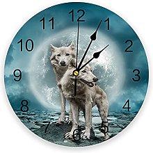 Eld Diameter 25cm Full Moon Wolf Animal Wall Clock